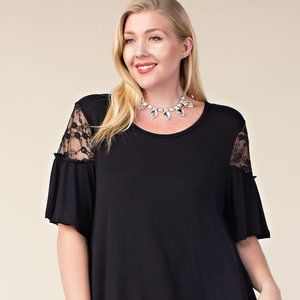 Vocal Black Tee with Lace Plus Top